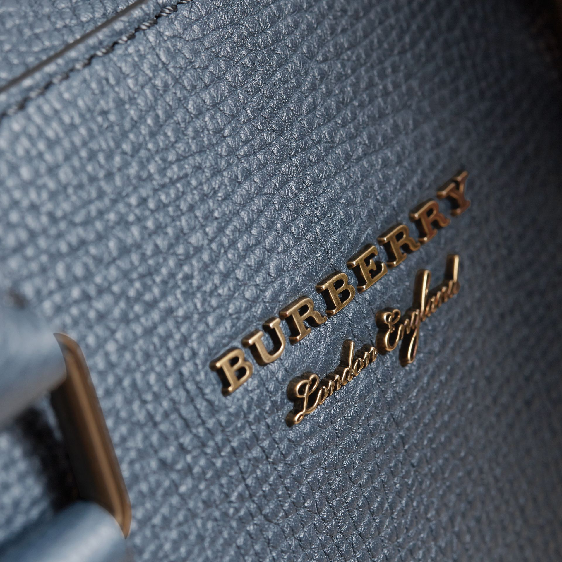 Leather and House Check Briefcase in Storm Blue - Men | Burberry - gallery image 2