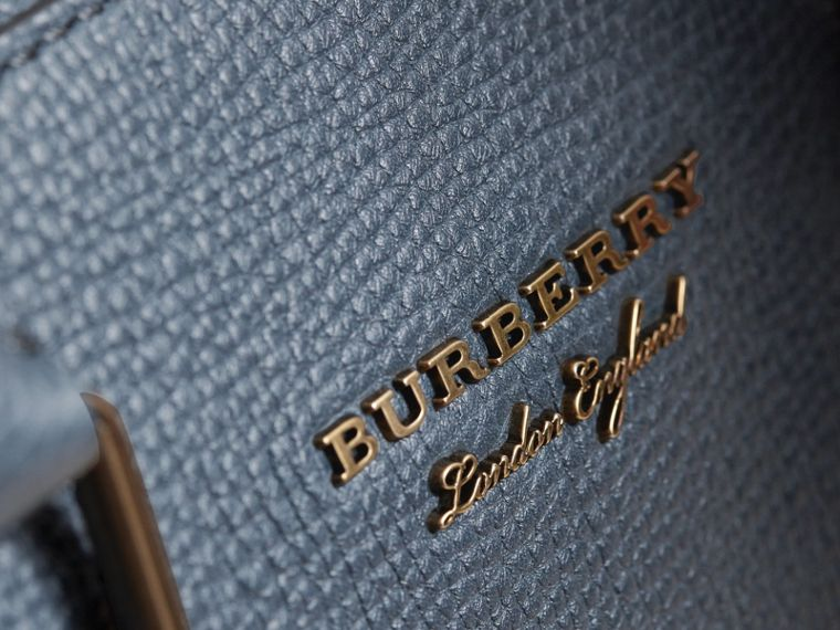 Leather and House Check Briefcase in Storm Blue - Men | Burberry - cell image 1