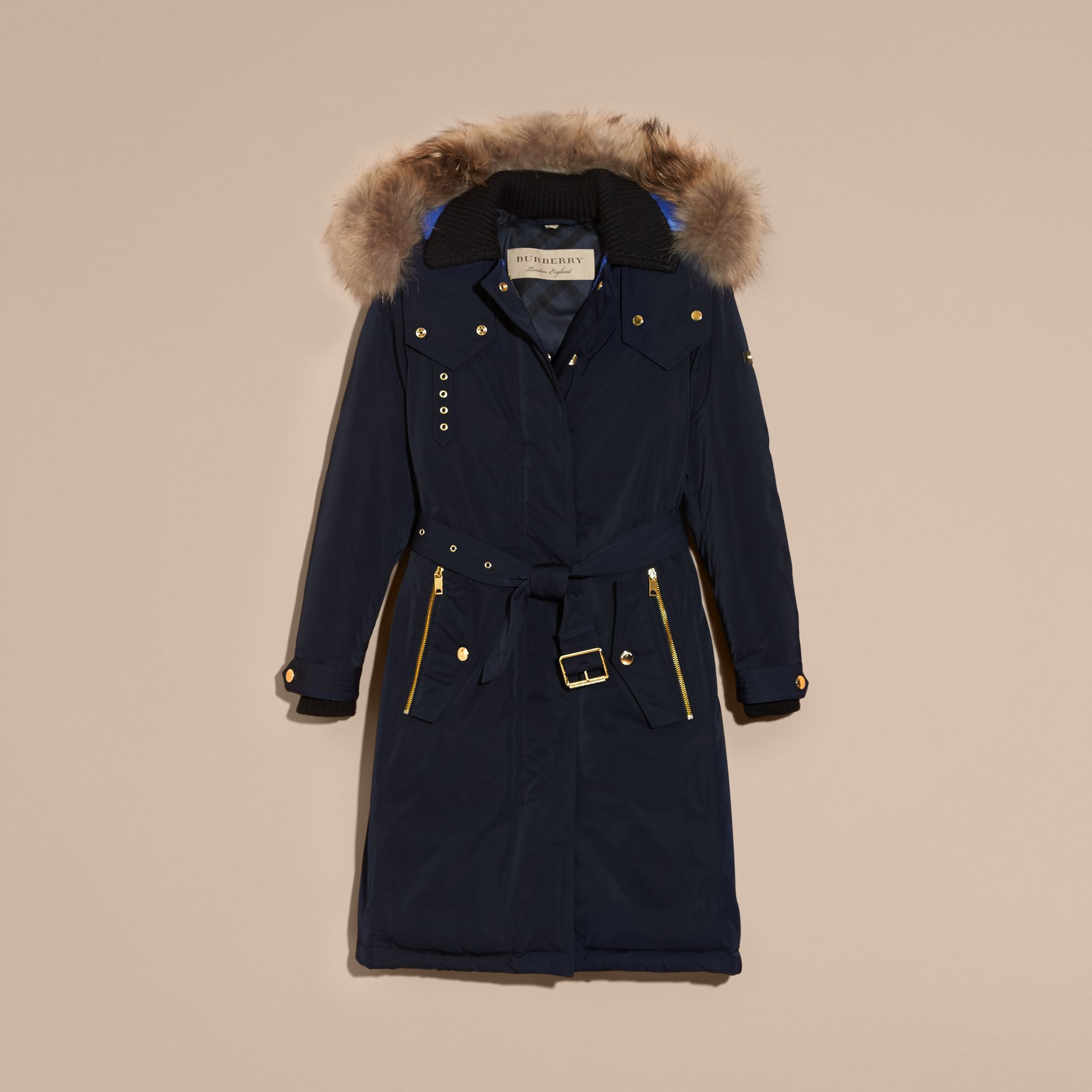 Navy Down-filled Parka Coat with Detachable Fur Trim Navy - gallery image 4