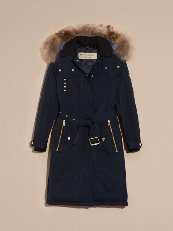 Navy Down-filled Parka Coat with Detachable Fur Trim Navy - cell image 3