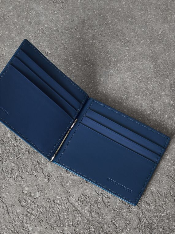 Grainy Leather Money Clip Card Wallet in Bright Ultramarine - Men | Burberry - cell image 3