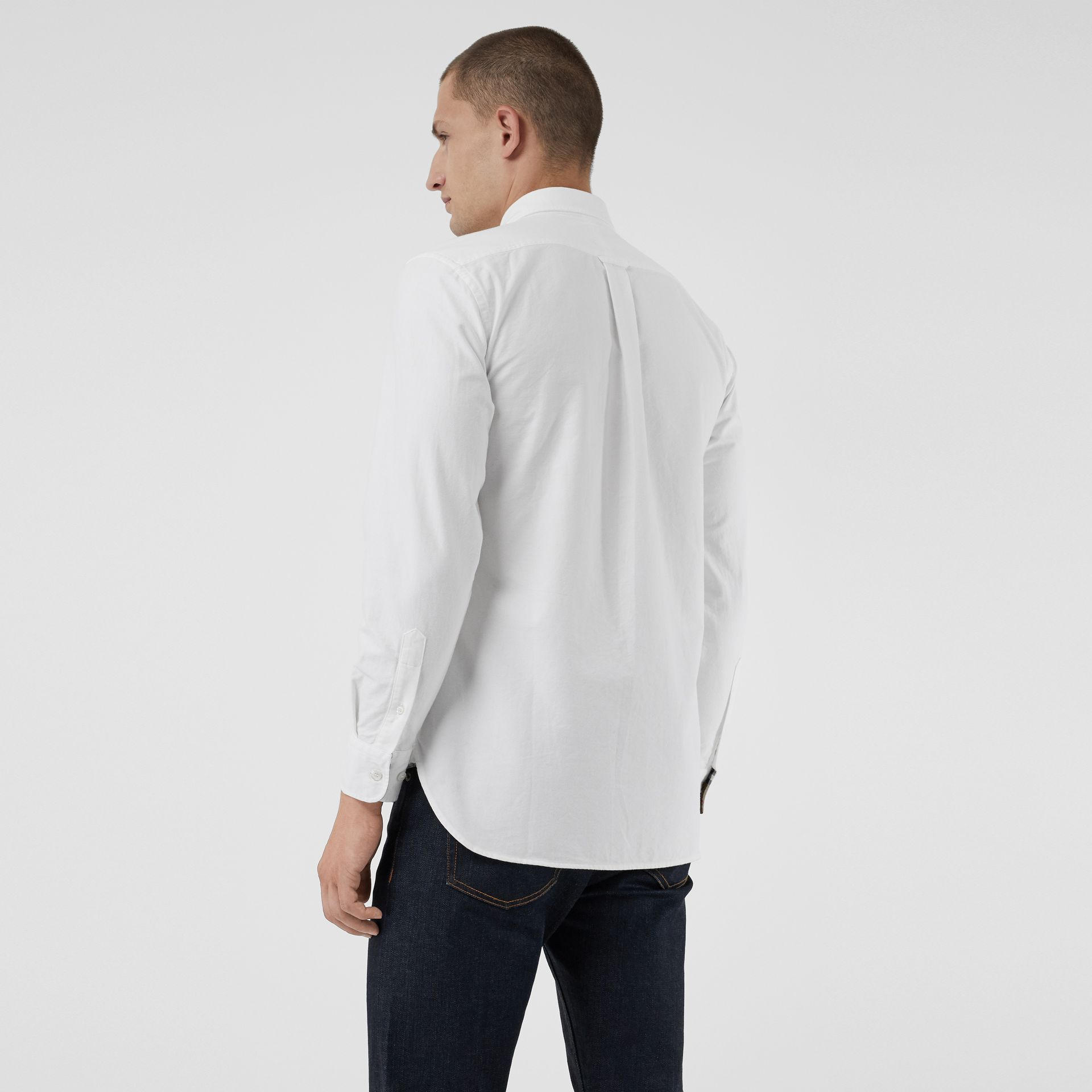 Embroidered Archive Logo Cotton Oxford Shirt in White - Men | Burberry Canada - gallery image 2