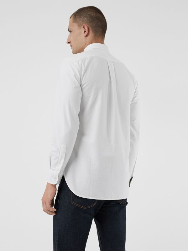 Embroidered Archive Logo Cotton Oxford Shirt in White - Men | Burberry United States - cell image 2