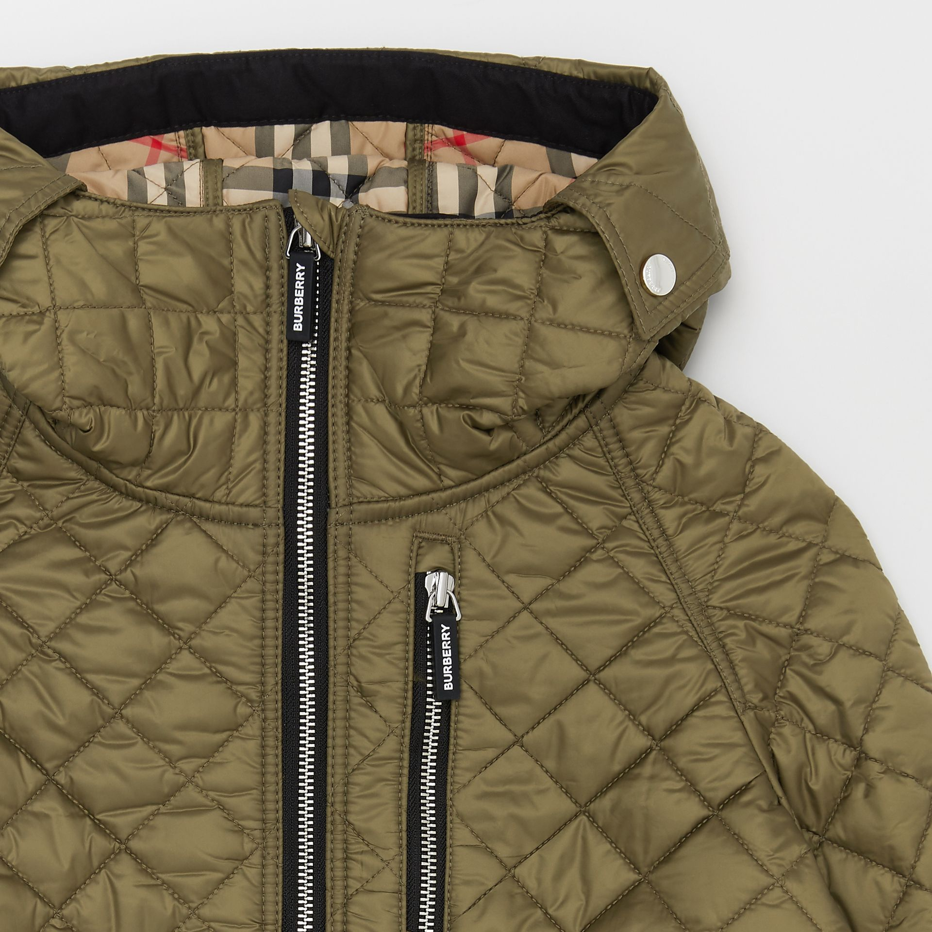 Diamond Quilted Hooded Coat in Military Olive | Burberry Australia - gallery image 4