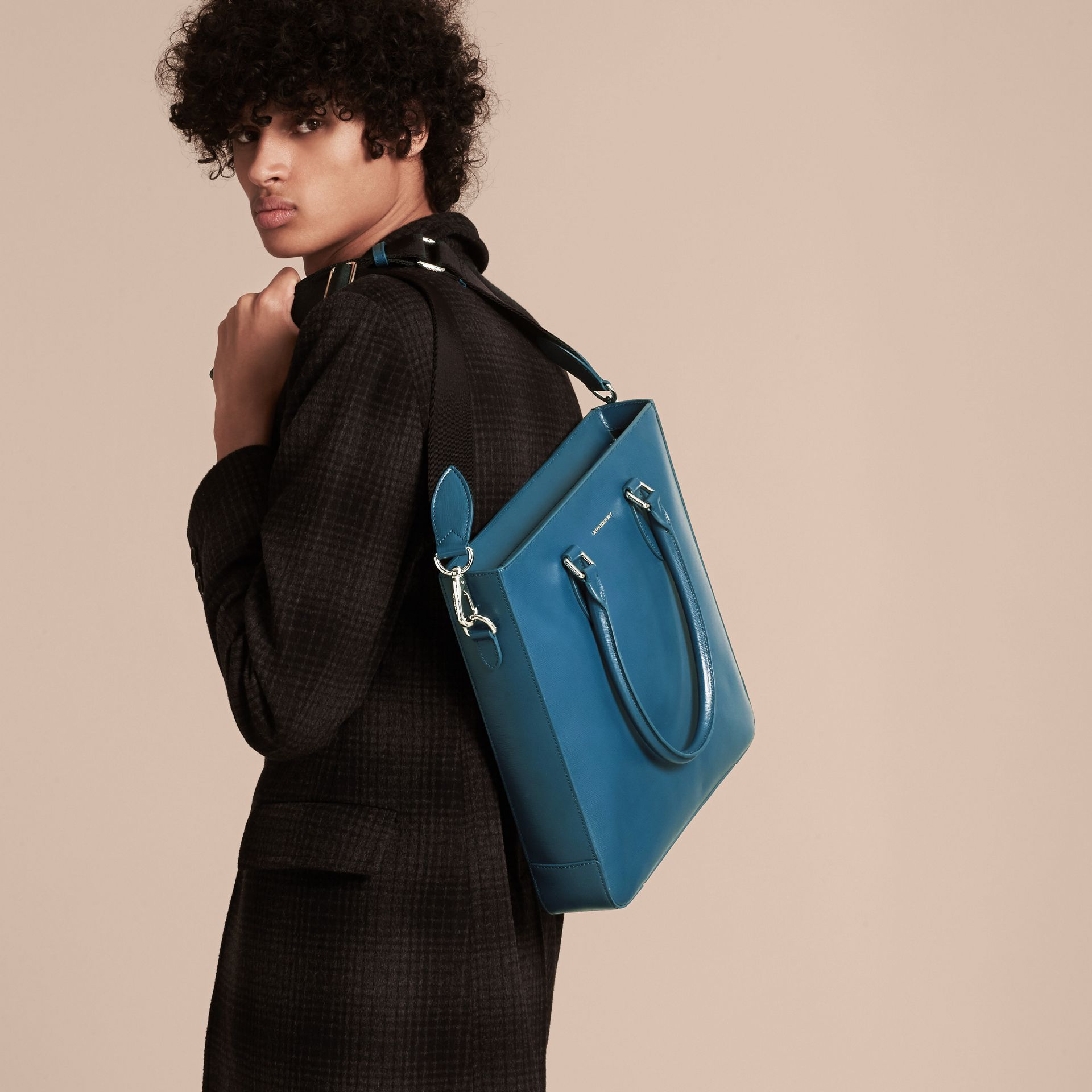 Mineral blue London Leather Tote Bag Mineral Blue - gallery image 3