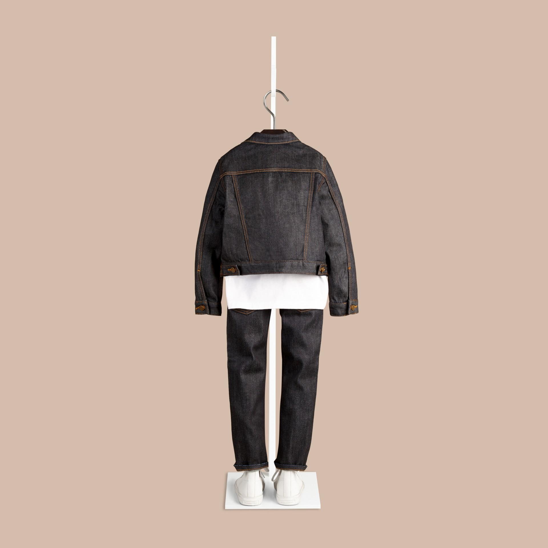 Dark indigo Jaqueta de tecido jeans japonês com detalhe xadrez - galeria de imagens 3