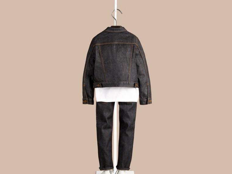 Dark indigo Jaqueta de tecido jeans japonês com detalhe xadrez - cell image 2