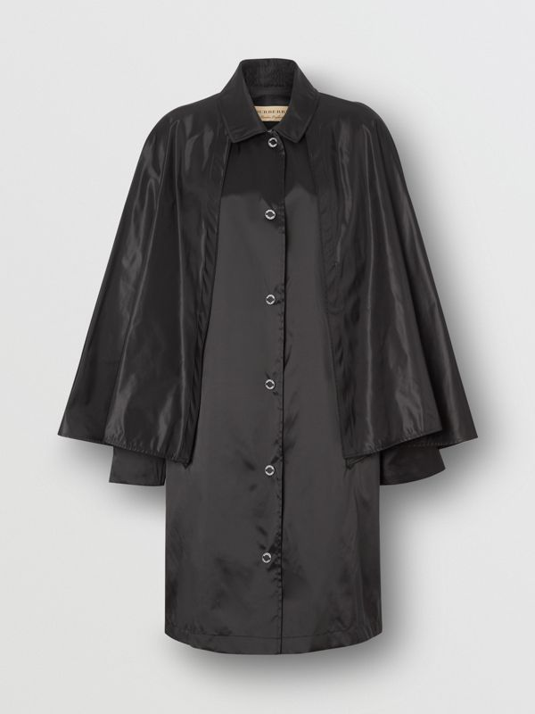 Cape Detail Nylon Twill Belted Coat in Black - Women | Burberry - cell image 3