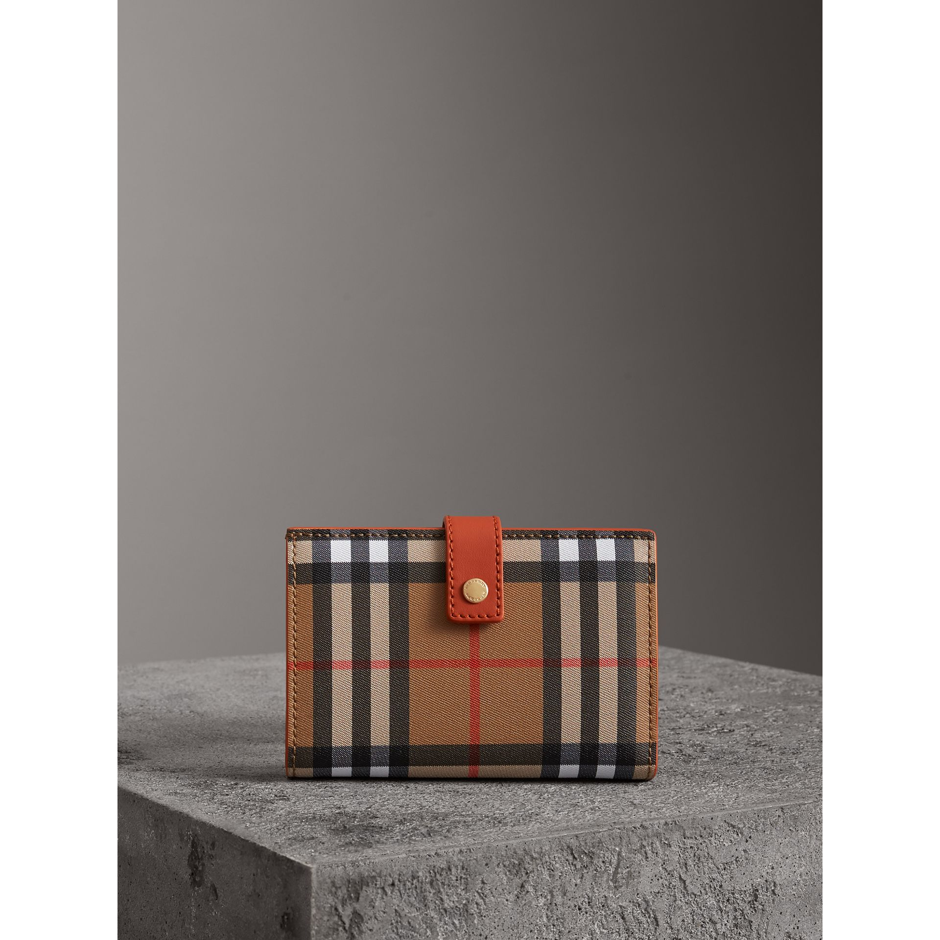 Vintage Check and Leather Folding Wallet in Clementine - Women | Burberry - gallery image 4