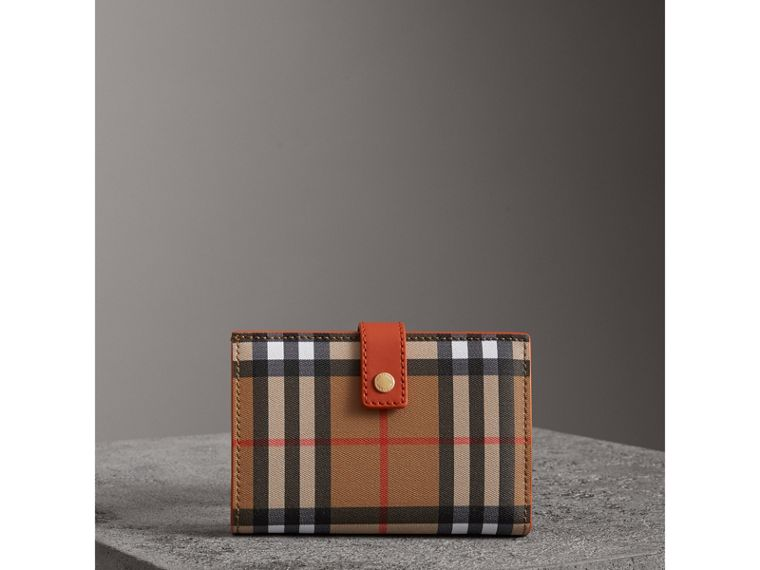 Vintage Check and Leather Folding Wallet in Clementine - Women | Burberry - cell image 4