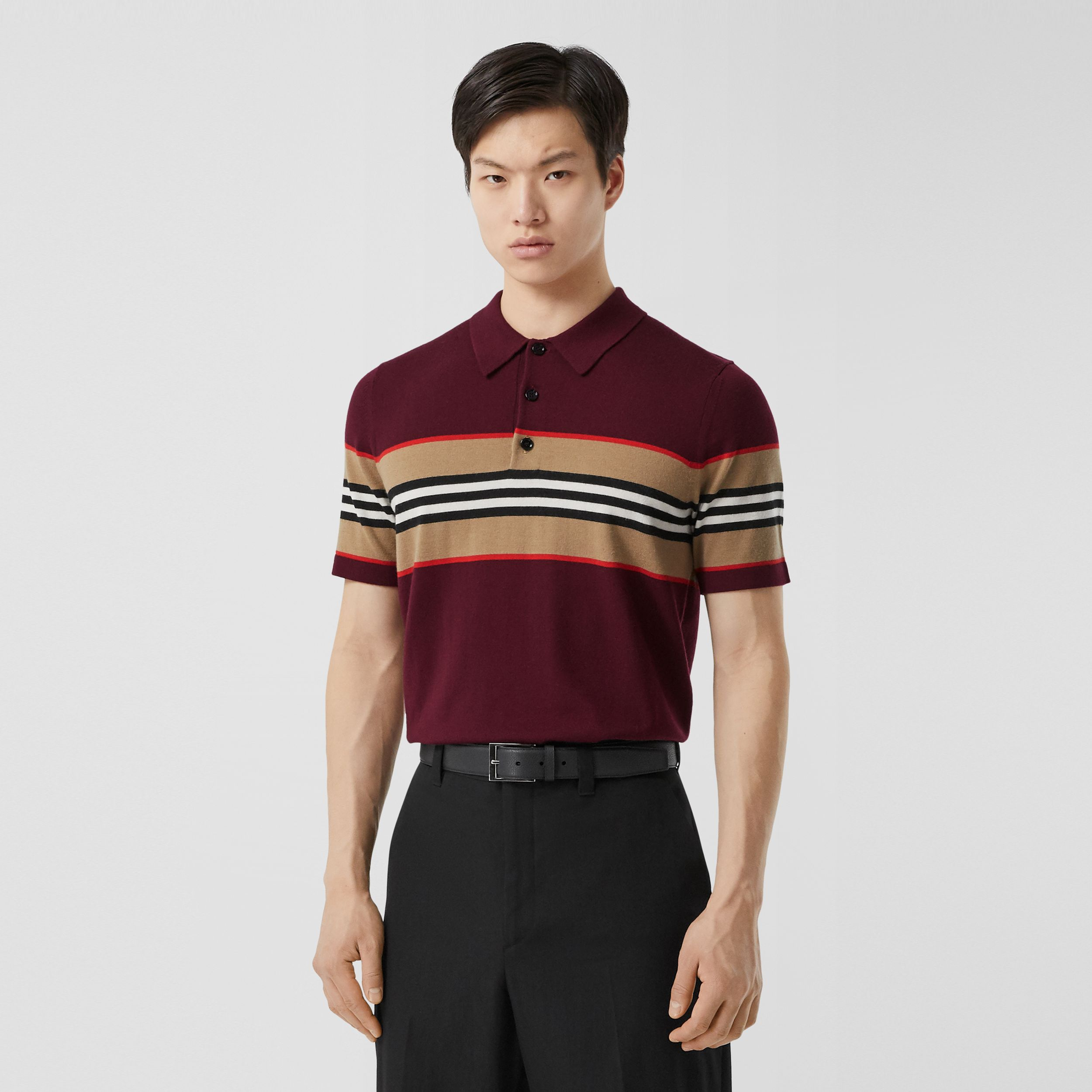 Icon Stripe Detail Merino Wool Polo Shirt in Deep Merlot - Men | Burberry - 1