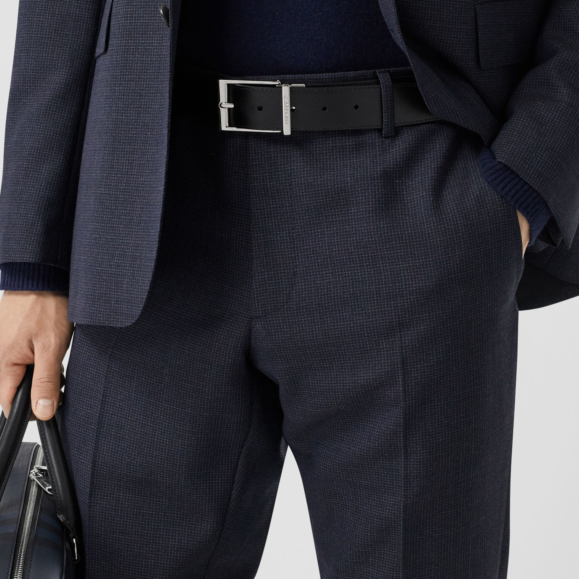 Reversible London Check and Leather Belt in Navy/black - Men | Burberry United Kingdom - gallery image 7