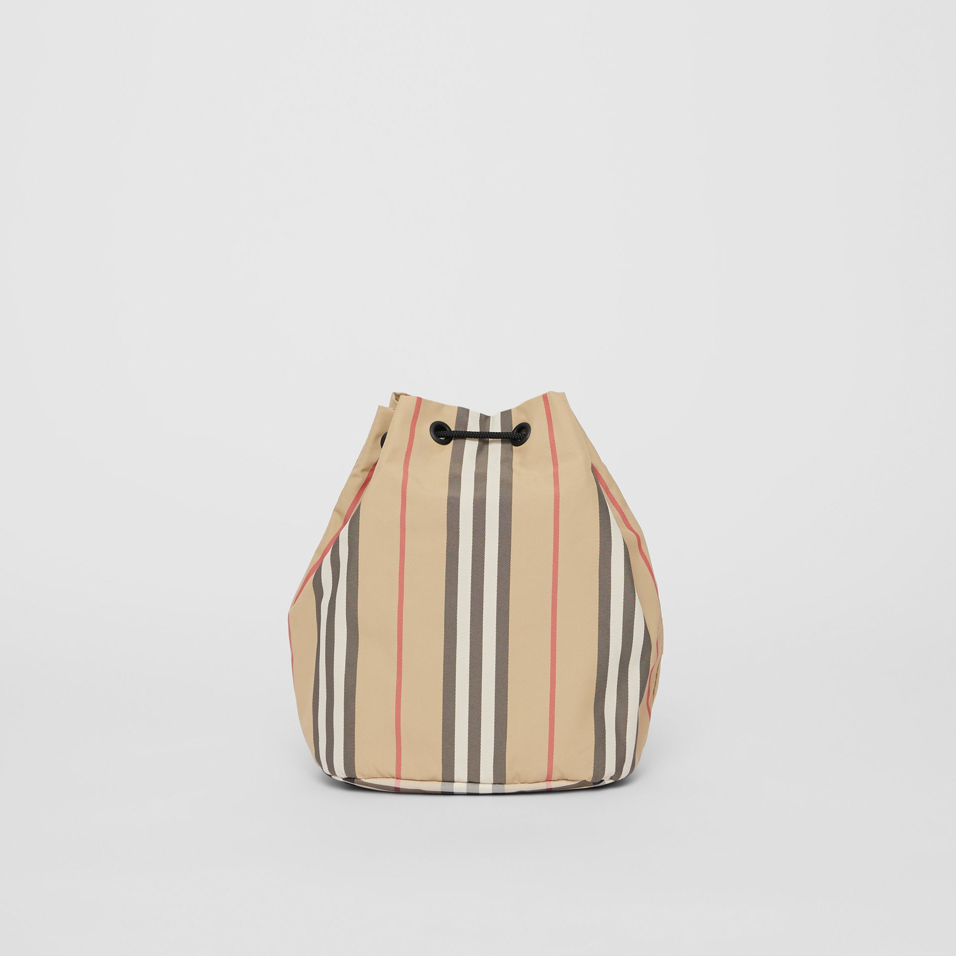 Logo Print Icon Stripe Nylon Drawcord Pouch in Archive Beige - Women | Burberry - gallery image 7