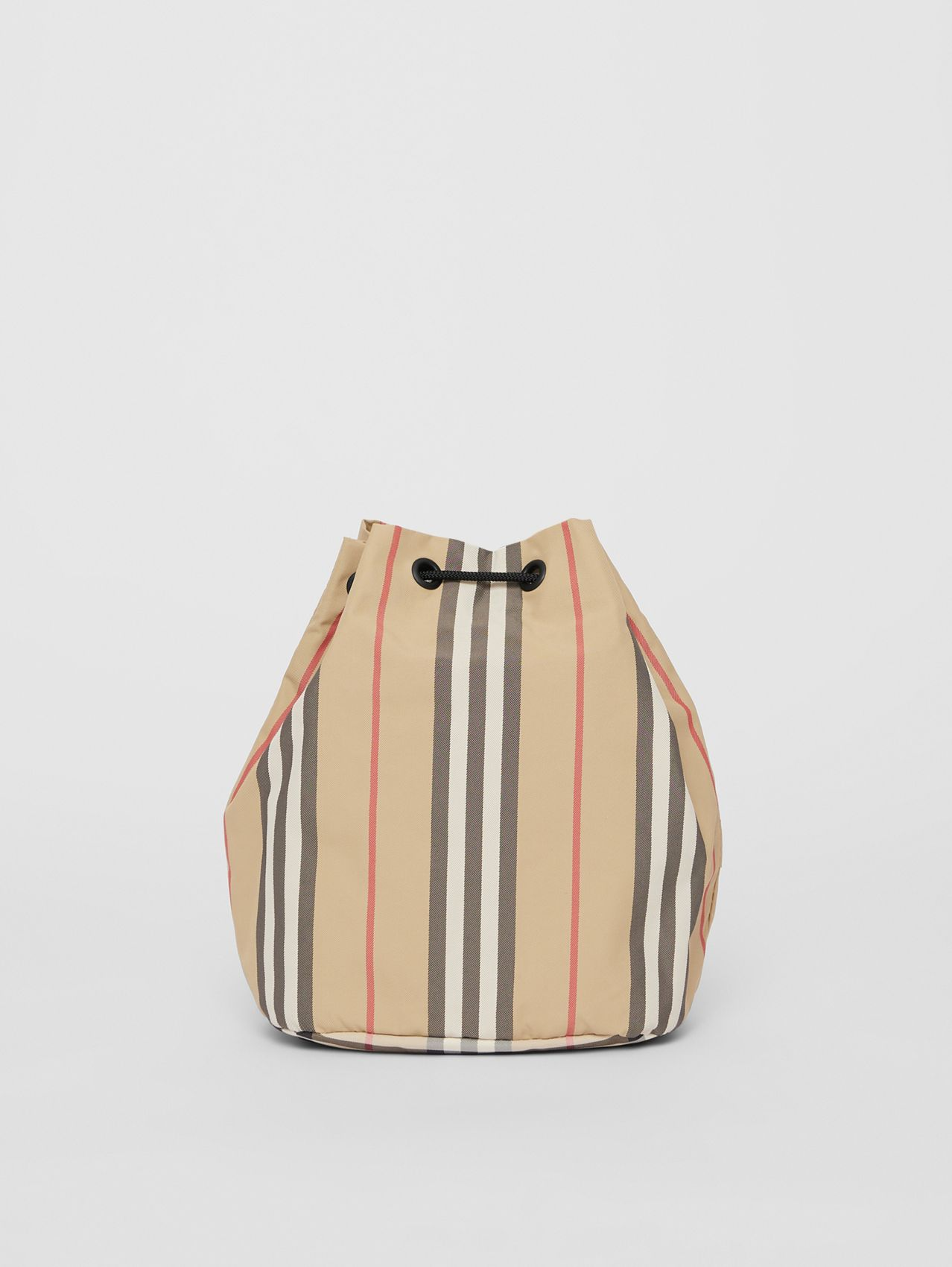 Icon Stripe ECONYL® Drawcord Pouch in Archive Beige