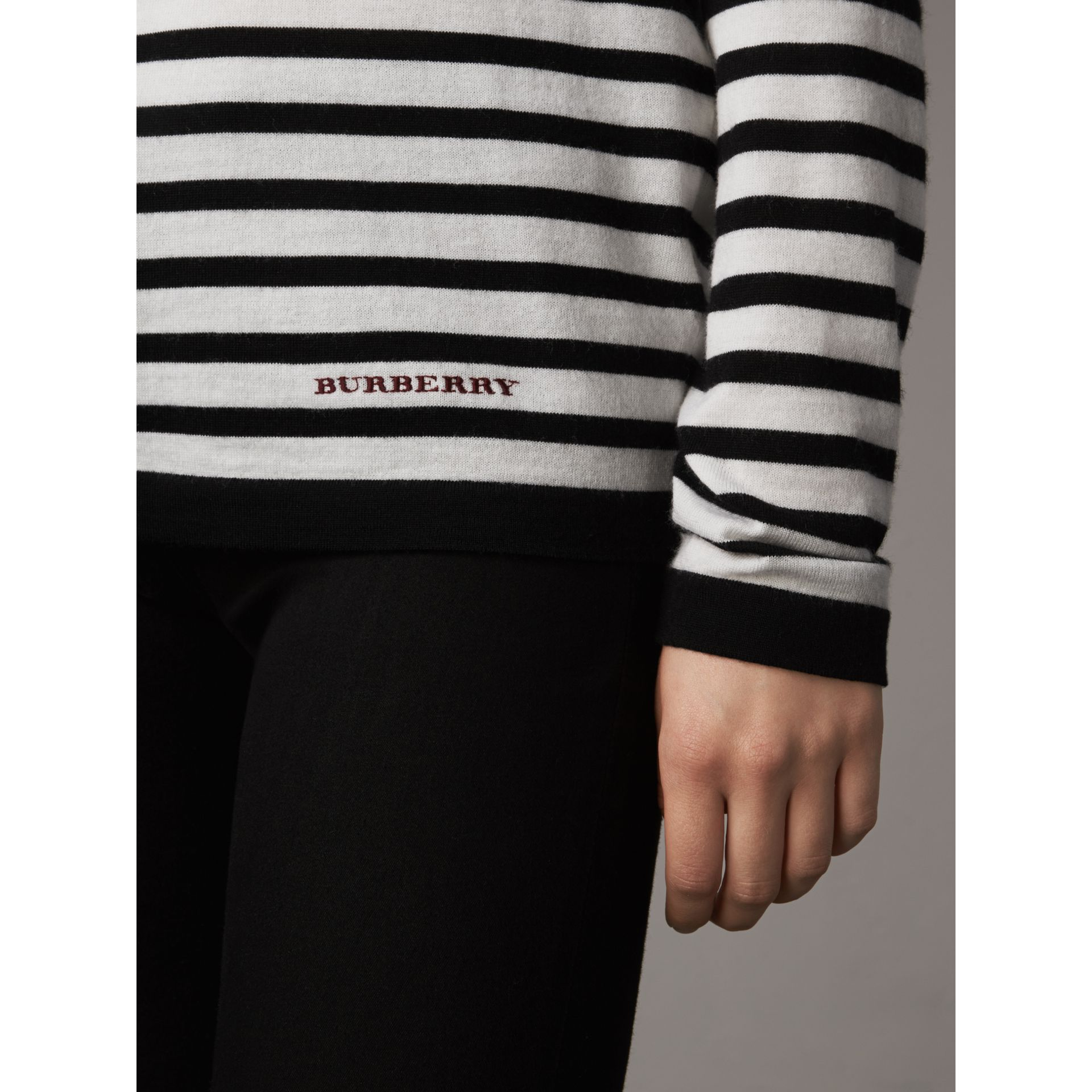 Graduated Stripe Merino Wool Sweater in Black/natural White - Women | Burberry - gallery image 2