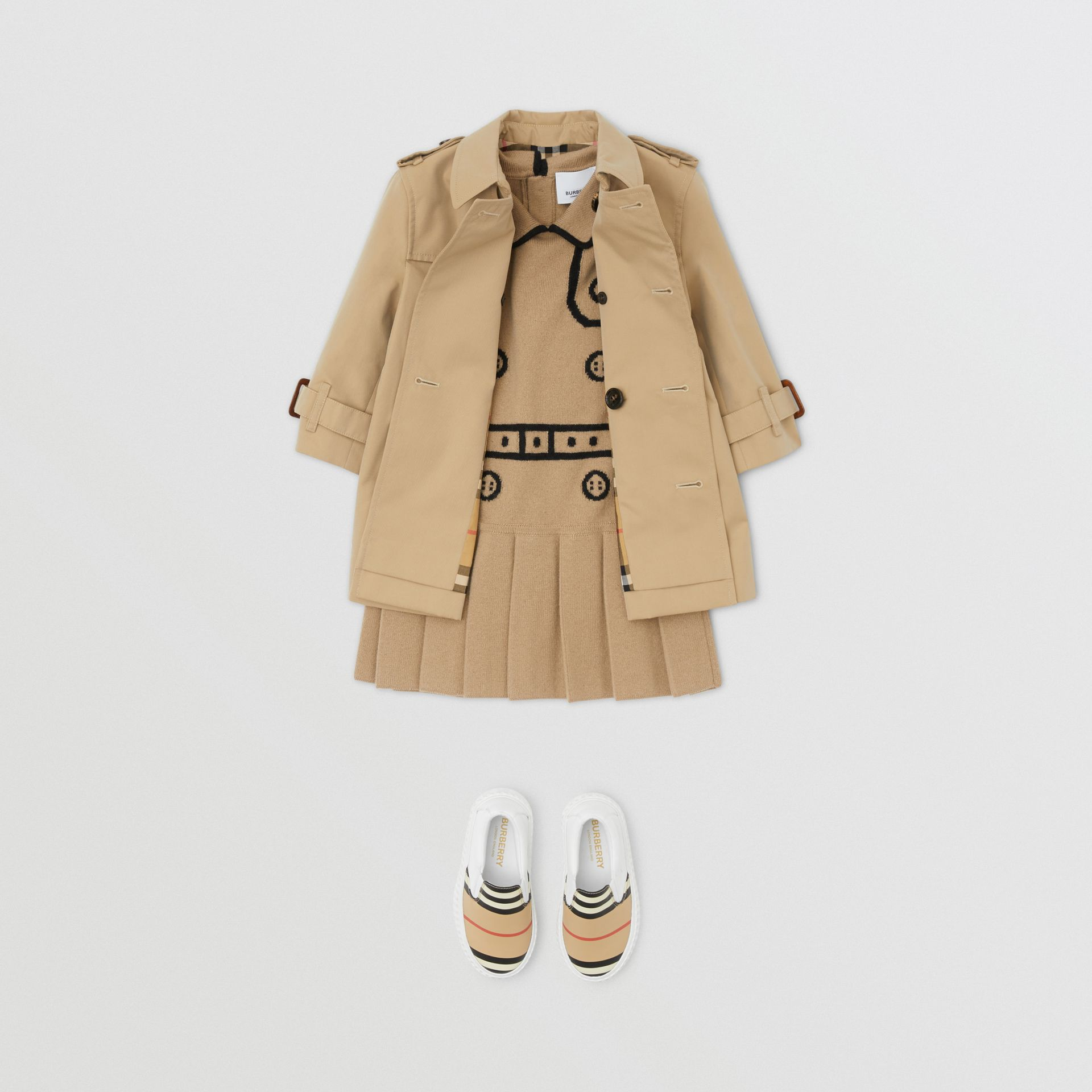 Cotton Gabardine Trench Coat in Honey - Children | Burberry - gallery image 2
