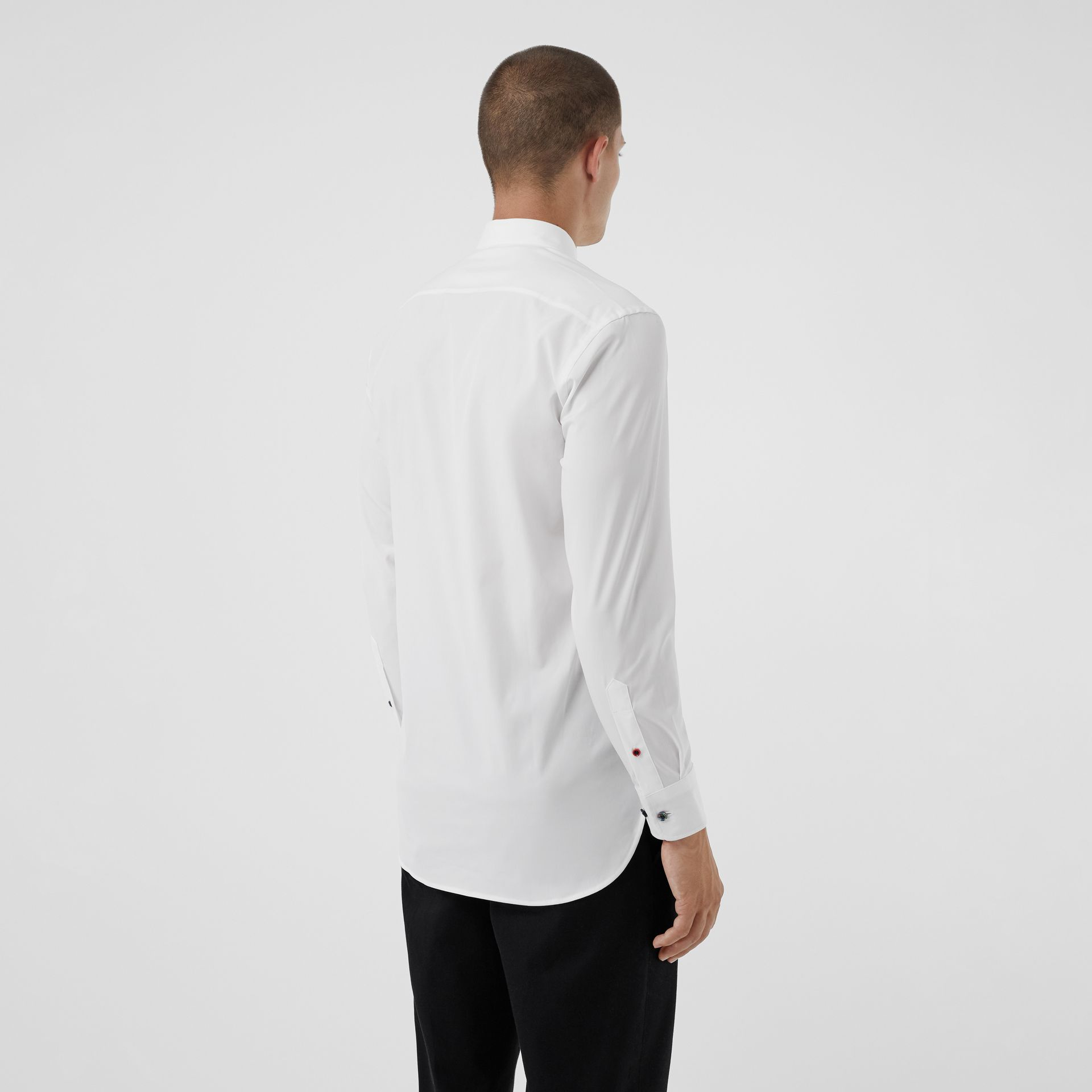 Contrast Button Stretch Cotton Shirt in White - Men | Burberry Australia - gallery image 2