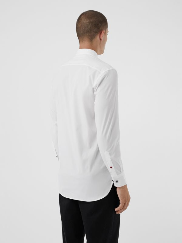 Contrast Button Stretch Cotton Shirt in White - Men | Burberry Canada - cell image 2