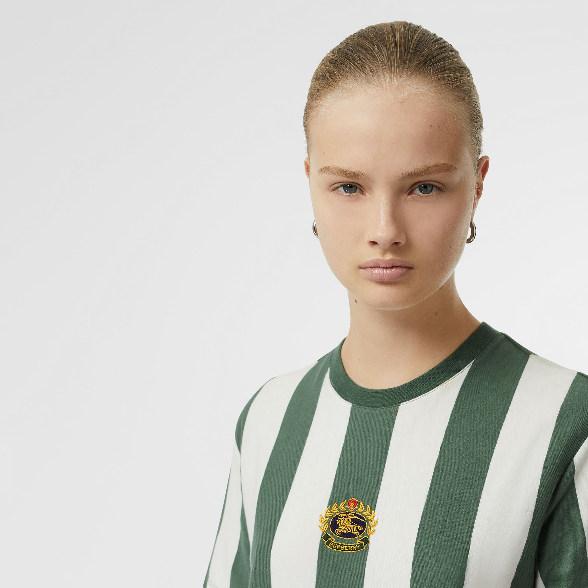 Embroidered Crest Striped Cotton T-shirt in Forest Green - Women | Burberry - gallery image 1