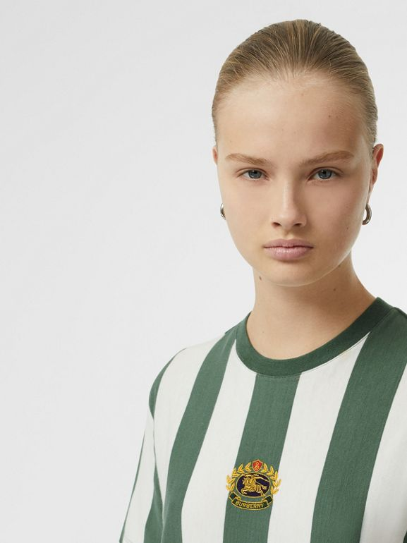 Embroidered Crest Striped Cotton T-shirt in Forest Green - Women | Burberry Canada - cell image 1