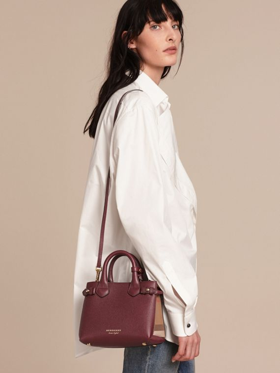 The Baby Banner in Leather and House Check in Mahogany Red - Women | Burberry Canada - cell image 3