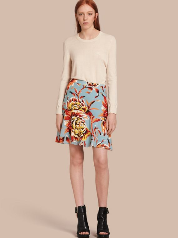 Floral Flared-hem Silk Skirt