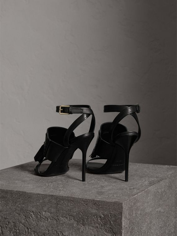 Tassel Detail Leather Sandals in Black - Women | Burberry - cell image 3