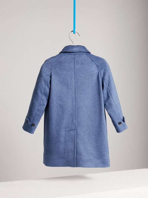 Cashmere Car Coat in Steel Blue Melange | Burberry - cell image 3