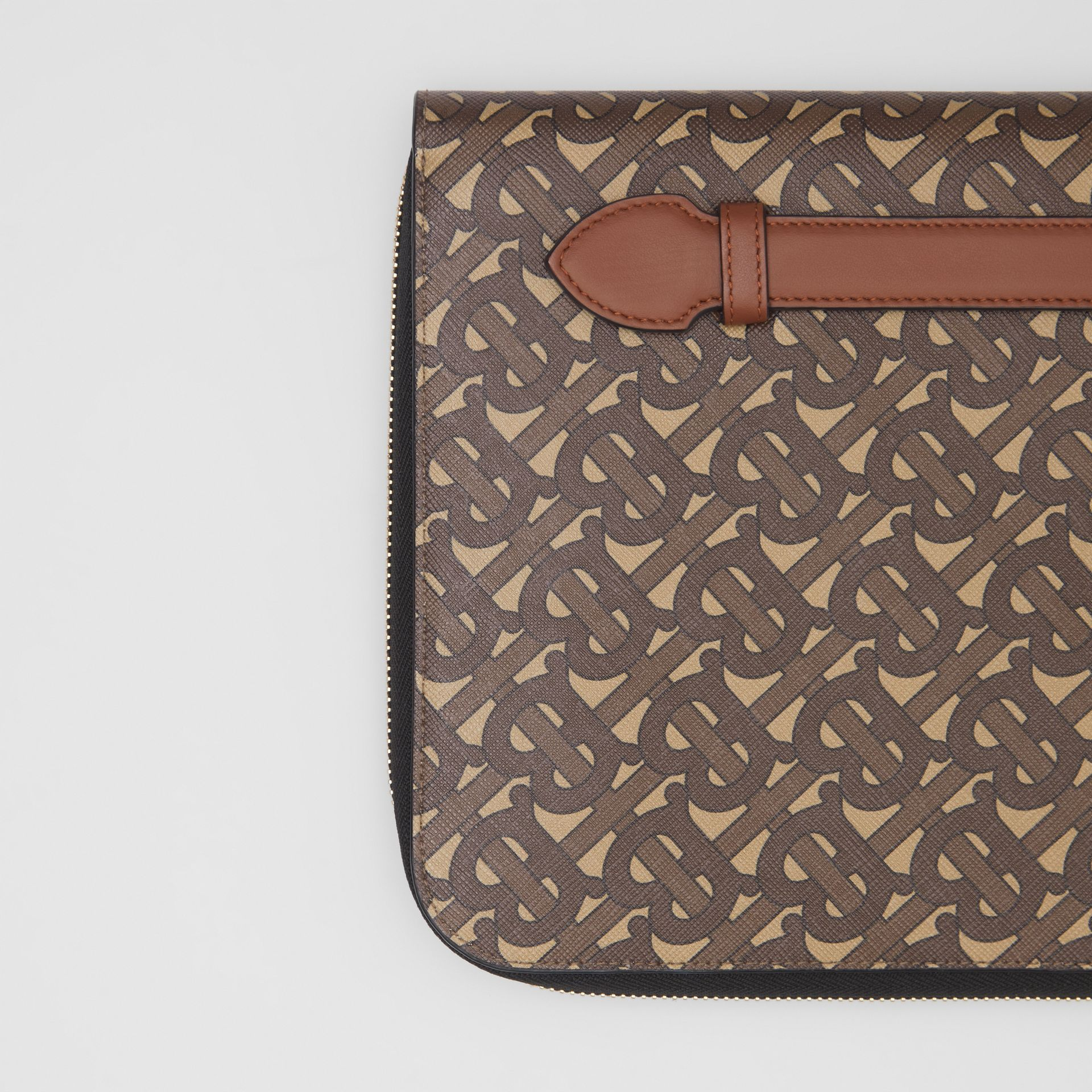 Monogram Print E-canvas and Leather Ziparound Pouch in Bridle Brown | Burberry Hong Kong S.A.R - gallery image 1