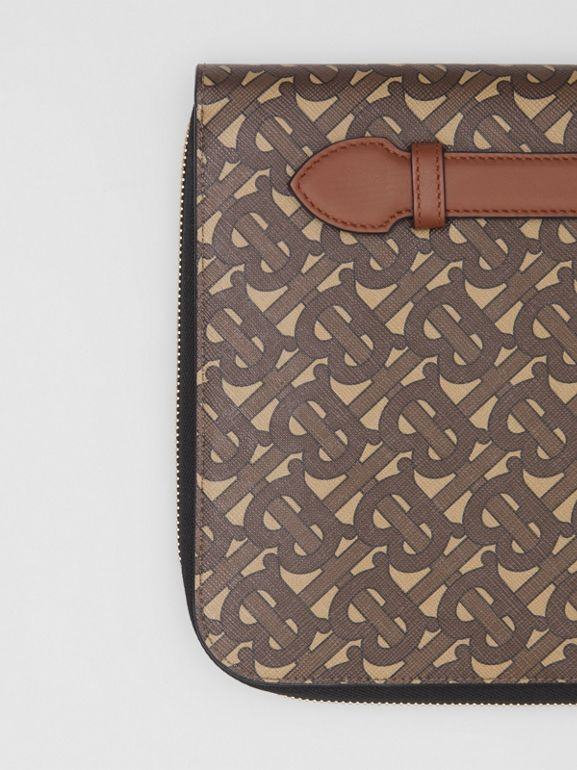 Monogram Print E-canvas and Leather Ziparound Pouch in Bridle Brown | Burberry Hong Kong S.A.R - cell image 1
