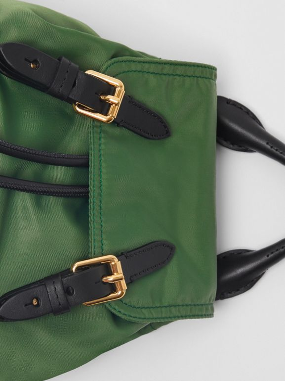 The Small Crossbody Rucksack in Nylon in Racing Green - Women | Burberry United Kingdom - cell image 1