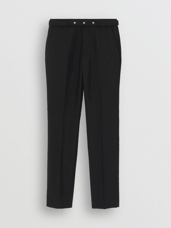 Classic Fit Triple Stud Wool Mohair Tailored Trousers in Black