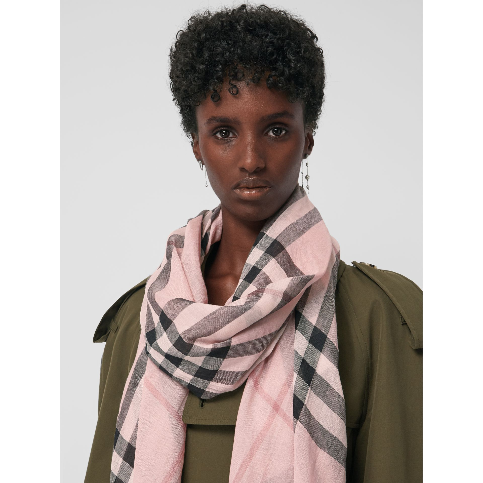 Lightweight Check Wool and Silk Scarf in Ash Rose | Burberry Australia - gallery image 5