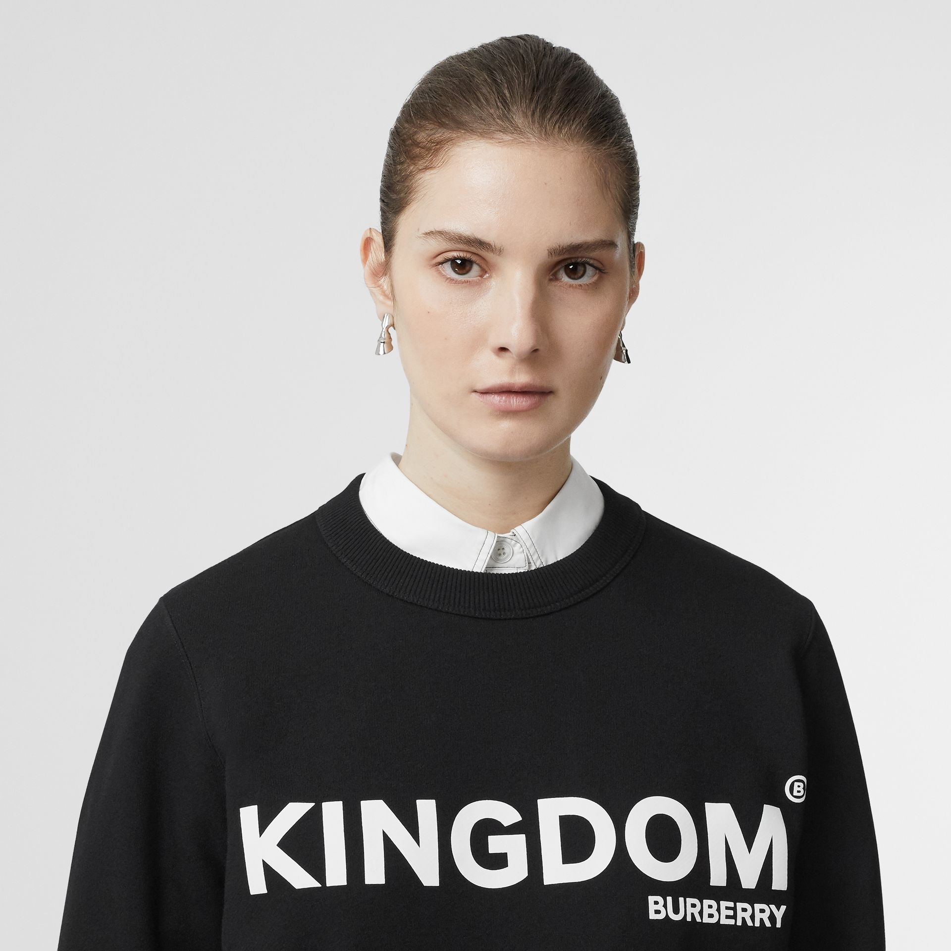 Kingdom Print Cotton Sweatshirt in Black - Women | Burberry - gallery image 1