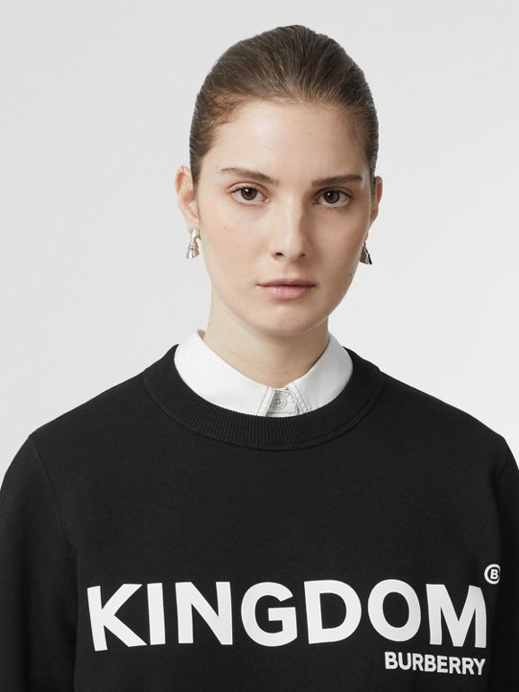 Kingdom Print Cotton Sweatshirt in Black - Women | Burberry Hong Kong - cell image 1