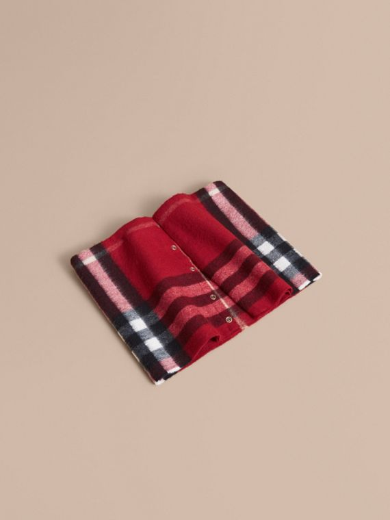 Exploded Check Cashmere Snood in Parade Red   Burberry