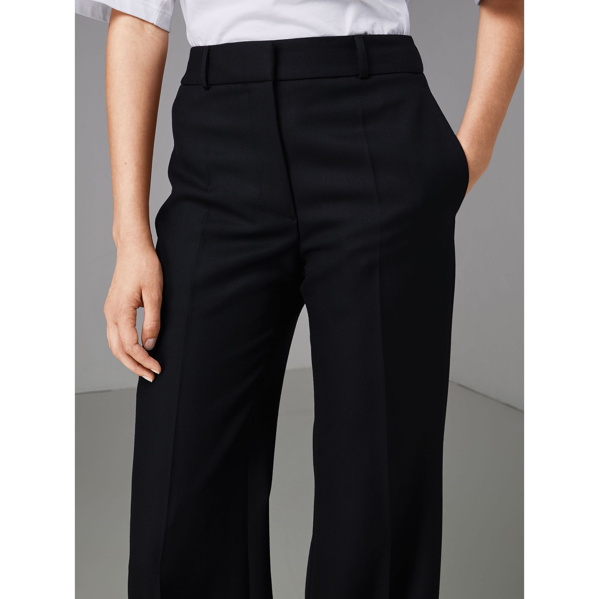 Flared Wool Tailored Trousers in Dark Navy - Women | Burberry Singapore - gallery image 1