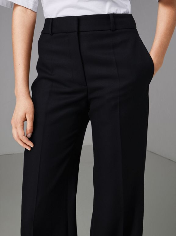 Flared Wool Tailored Trousers in Dark Navy - Women | Burberry Singapore - cell image 1