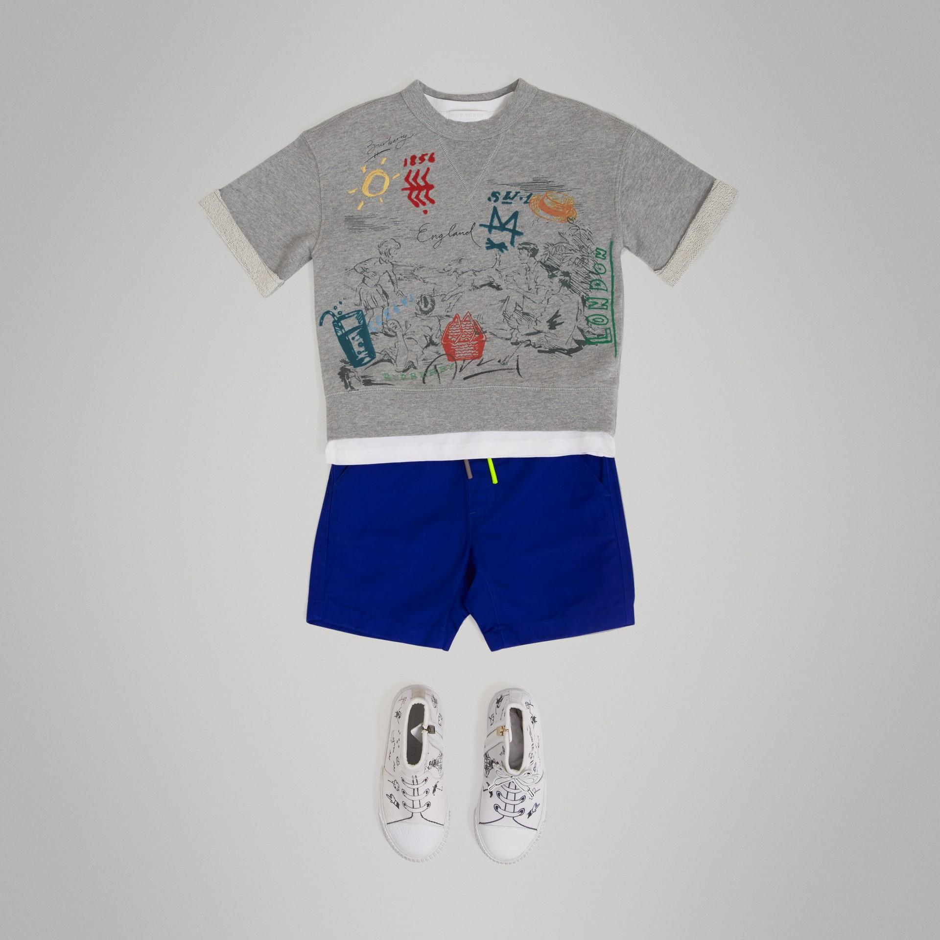 Short-sleeve Adventure Motif Cotton Jersey Sweatshirt in Grey Melange - Boy | Burberry - gallery image 0