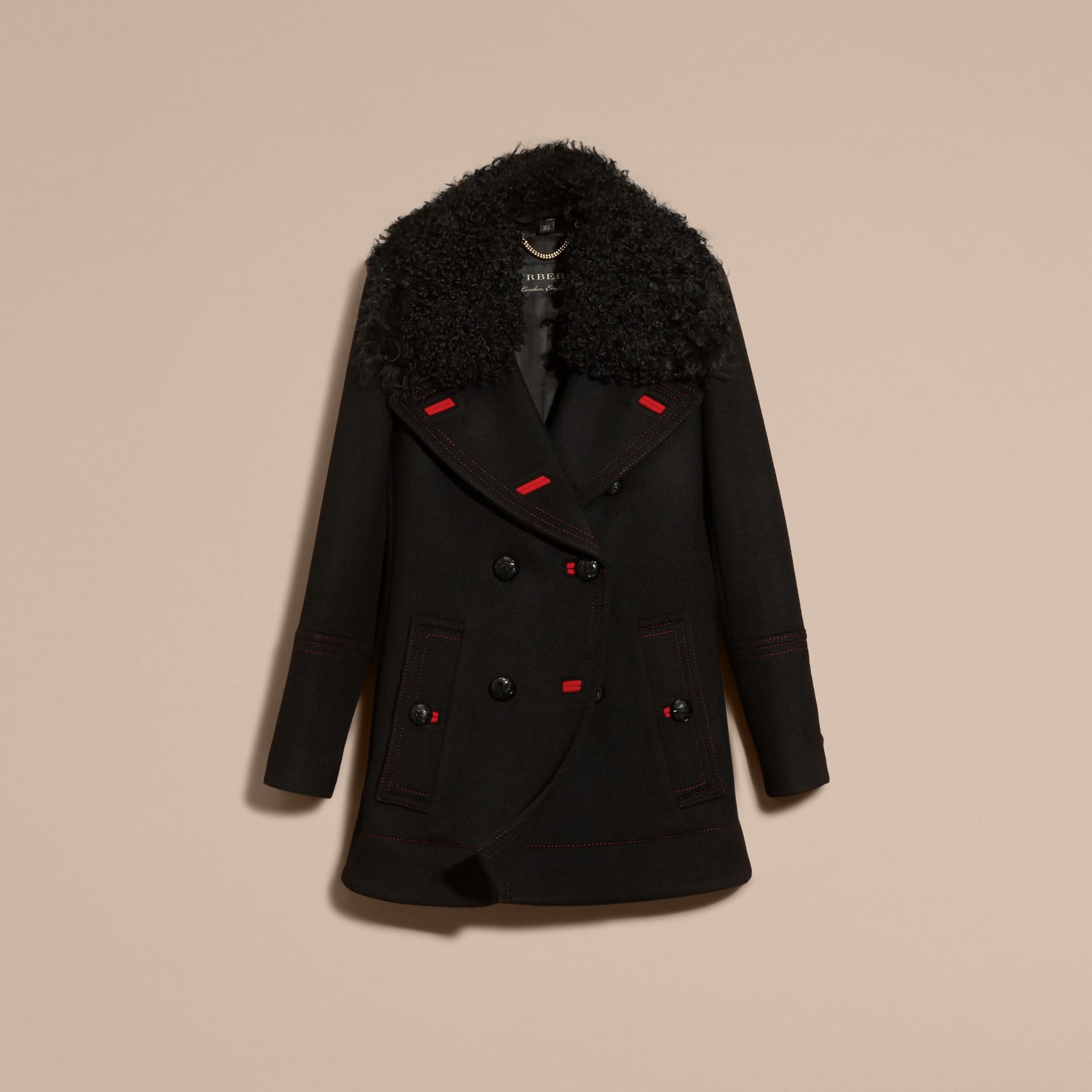 Black Shearling Collar Wool Pea Coat - gallery image 4