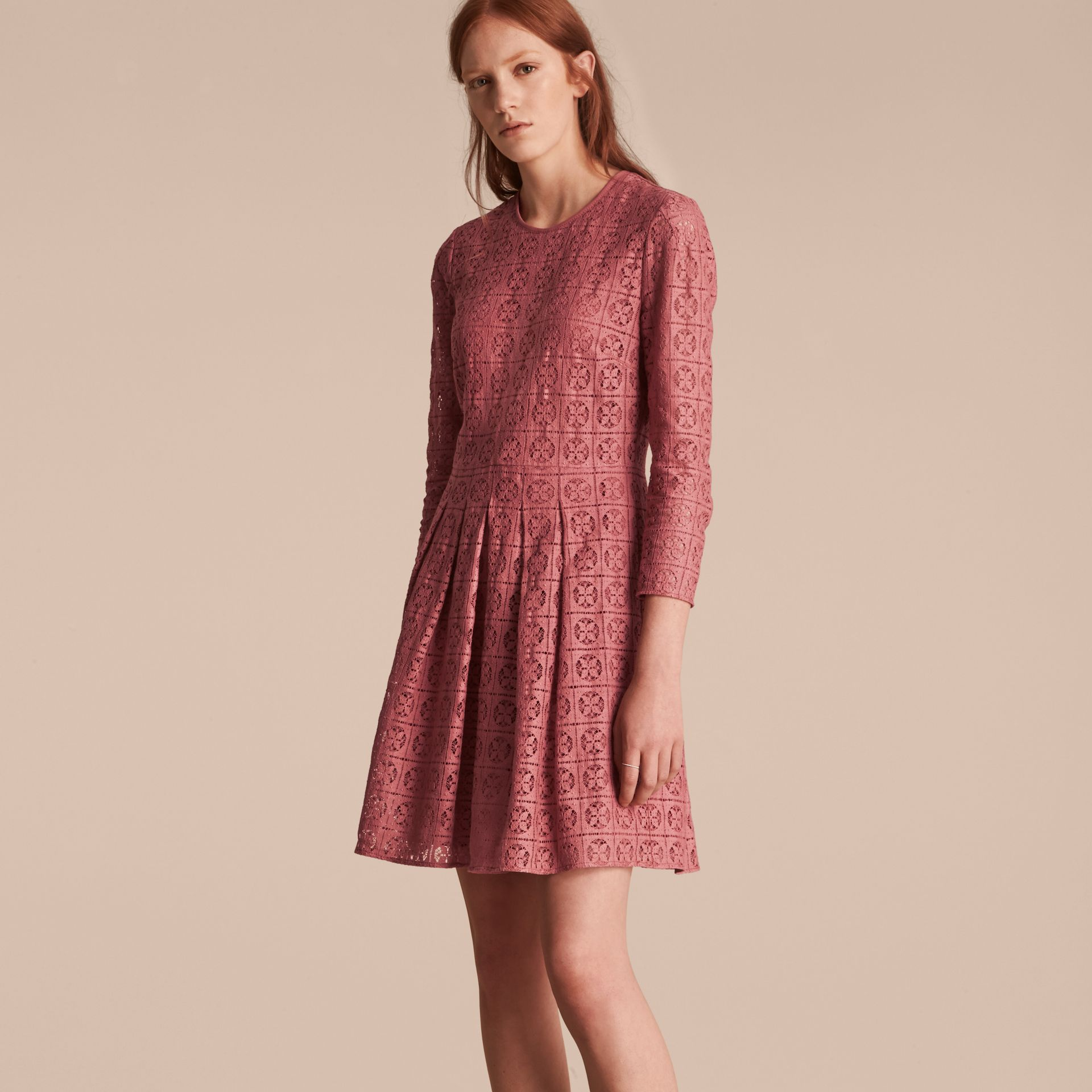 Dusty peony rose Lace Fit and Flare Dress - gallery image 6