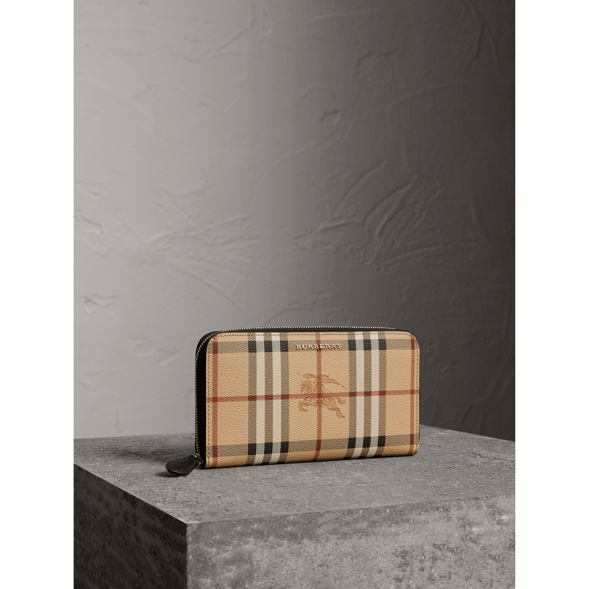 Haymarket Check and Leather Ziparound Wallet in Black - Women | Burberry Australia - gallery image 1