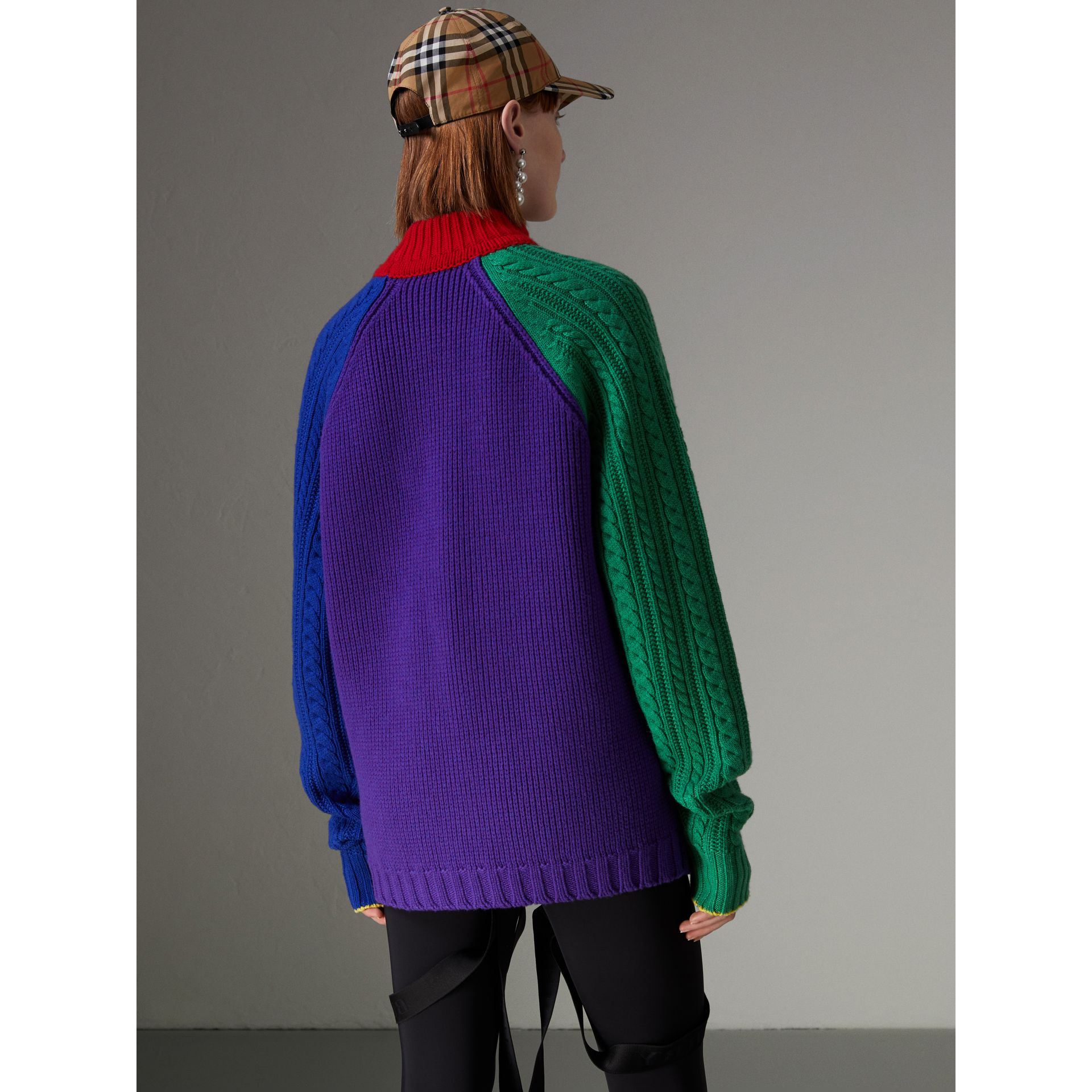 Rainbow Wool-cashmere Turtleneck Sweater in Multicolour - Women | Burberry Australia - gallery image 2