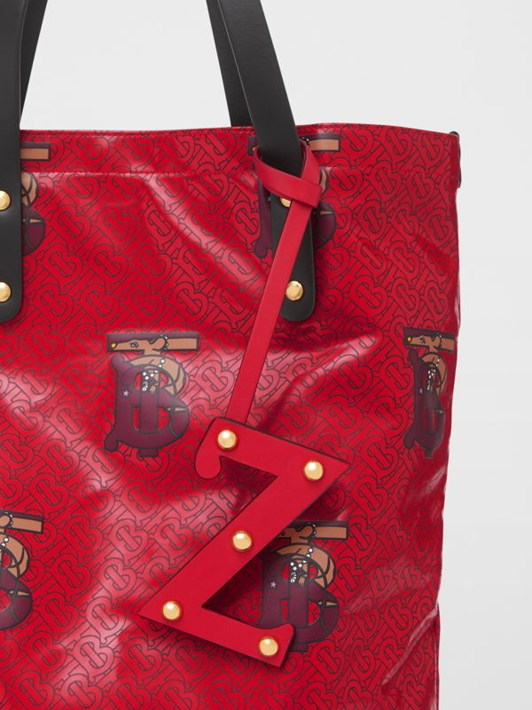 'Z' Studded Leather Alphabet Charm in Red/light Gold - Women | Burberry - cell image 3