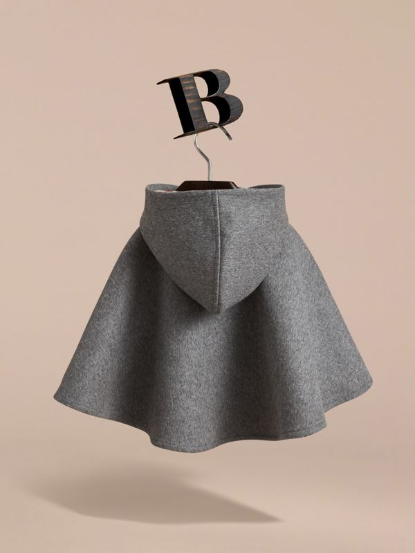 Hooded Check Detail Wool A-line Cape in Mid Grey Melange | Burberry United States - cell image 3