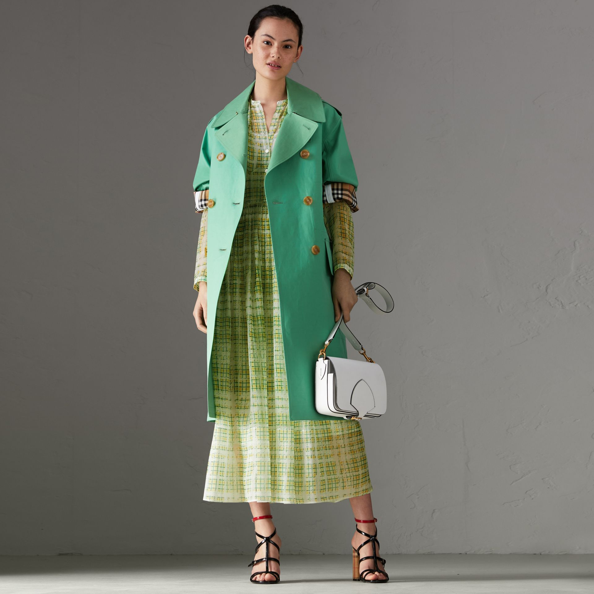 Scribble Check Print Silk Dress in Yellow - Women | Burberry - gallery image 0