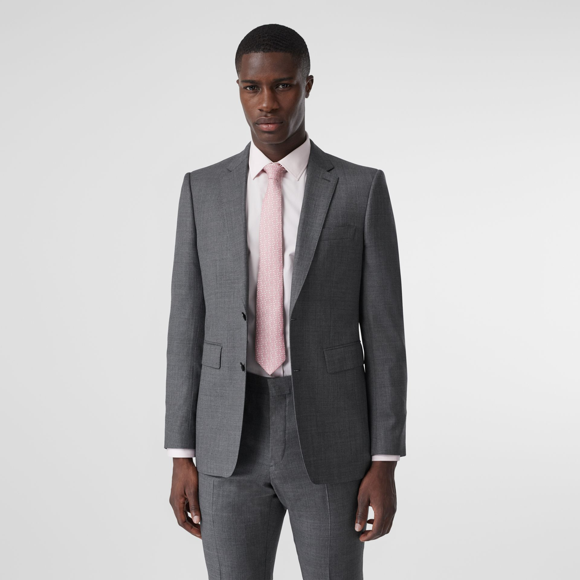 Classic Fit Sharkskin Wool Suit in Mid Grey Melange - Men | Burberry United Kingdom - gallery image 5