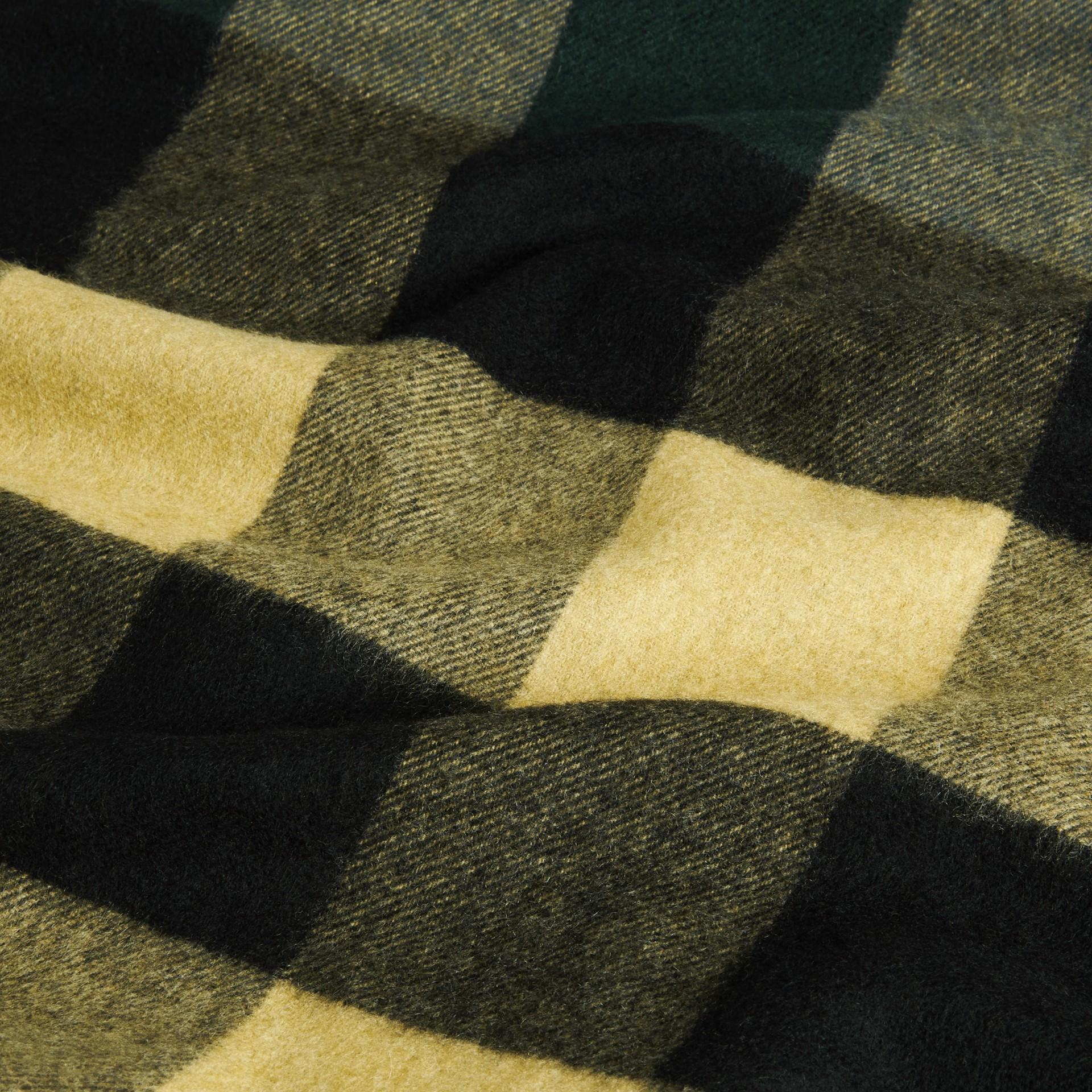 Dark green/ camel Oversize Check Cashmere Scarf Dark Green/ Camel - gallery image 2