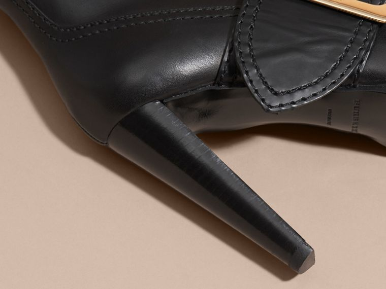 Black Buckle Detail Leather Platform Boots - cell image 4