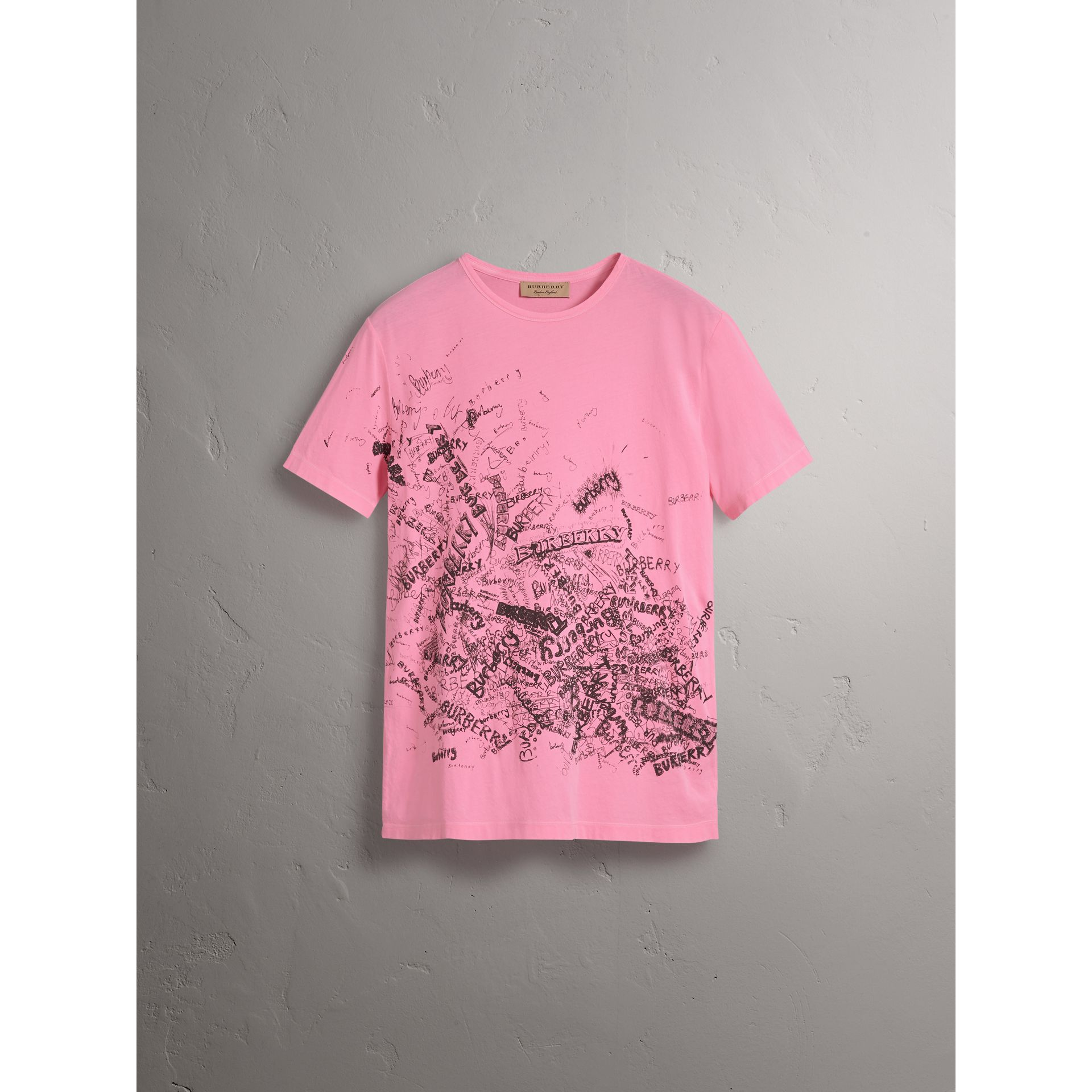 Doodle Print Cotton T-shirt in Bright Rose Pink - Women | Burberry Singapore - gallery image 3